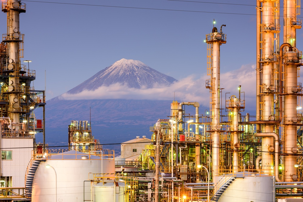 Mt. Fuji, Japan viewed from behind factories..jpeg